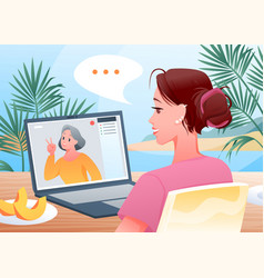 video call to family cartoon happy woman vector image