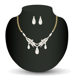 With white necklace and earrings with precious sto vector
