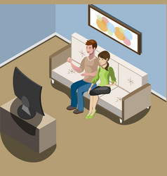 Young family watching tv in living room vector