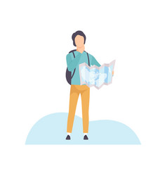 young man with backpack standing and exploring vector image