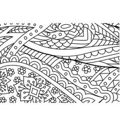 zen art with monochrome linear floral pattern vector image