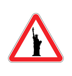 Attention america statue of liberty on red vector