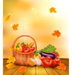 Autumn vegetables background vector image