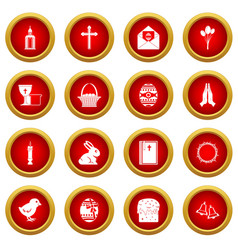 easter items icon red circle set vector image vector image