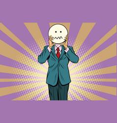 nervous skepticism man smiley emoji face vector image vector image