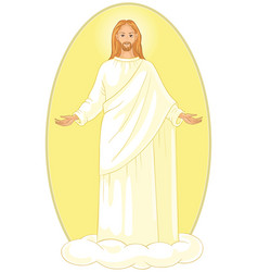 ascension of jesus christ on cloud with arms open vector image vector image