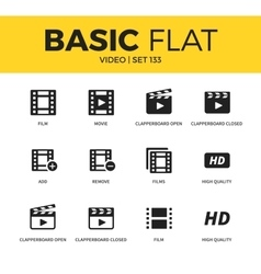 Basic set of video icons vector