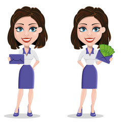 Beautiful business woman holding sealed envelope vector