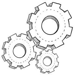 doodle gears vector image