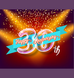 happy 30th anniversary glass bulb numbers set vector image vector image