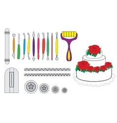 Modelling Tools for Icing Decorating Sugarpaste vector image vector image
