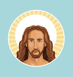 portrait jesus christ stamp vector image