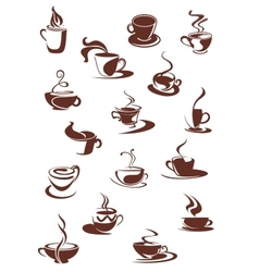 Set of hot coffee sketches vector image