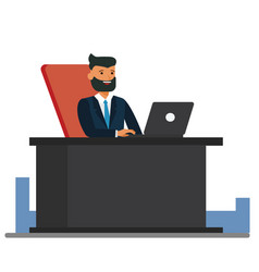 big boss sitting at office desk cartoon flat vector image