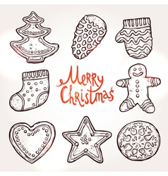 Christmas Card With Gingerbreads vector image