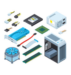 different electronic parts and vector image