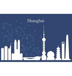 Shanghai city skyline on blue background vector image