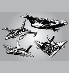 collection of modern military aircraft vector image