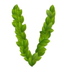 Letter V of green leaves alphabet vector image vector image
