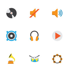 music flat icons set collection of loudspeaker vector image