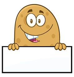 Potato Cartoon Holding Up Sign vector image vector image