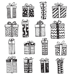 set of Christmas or birthday ornate present vector image