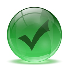 3D glass sphere and green okay icon vector