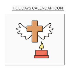 All saint day color icon vector