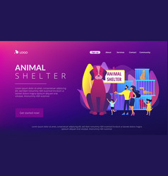 Animal shelter concept landing page vector