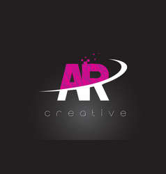 Ar a r creative letters design with white pink vector