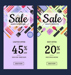 Banners for beauty shop with makeup and skincare vector