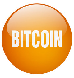 Bitcoin orange round gel isolated push button vector