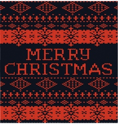 Black and red winter pattern Christmas knitted vector