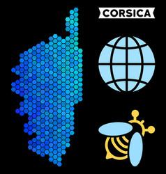 Blue hexagon corsica france island map vector