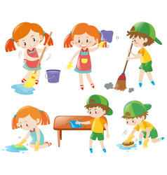 Boys and girls doing chores vector