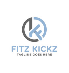 business logo design with letter kf vector image
