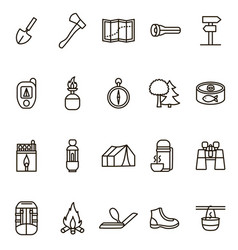 camping hiking signs black thin line icon set vector image