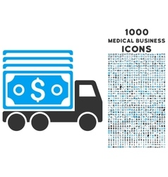 Cash Lorry Icon with 1000 Medical Business Icons vector image