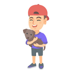 Caucasian happy boy in a cap holding a dog vector
