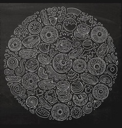 chalkboard hand drawn set donuts cartoon vector image