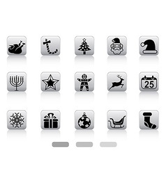 christmas button icons vector image