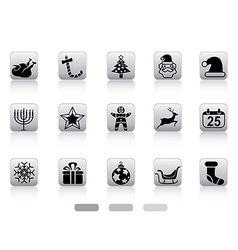 Christmas button icons vector