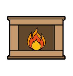 christmas fireplace icon vector image