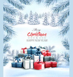 Christmas holiday background with colorful gift vector
