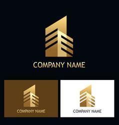 cityscape building gold logo vector image