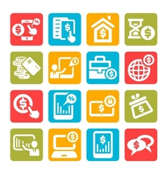 Color finance icons set vector