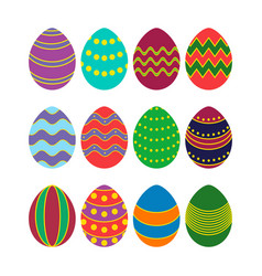 colored silhouettes of easter eggs vector image