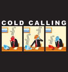comic with a businessman who makes cold call vector image
