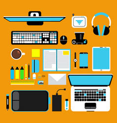 Computer gadgets top view promotional vector