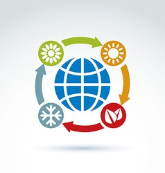 Connected circles with season pictograms placed vector